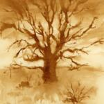 Monochrome painting of a tree using instant coffee.