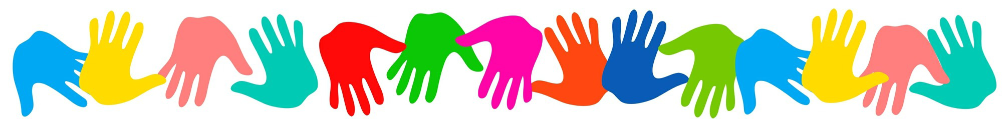 Brightly colored hand prints