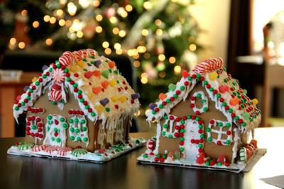 Image of two gingerbread houses sitting on a table