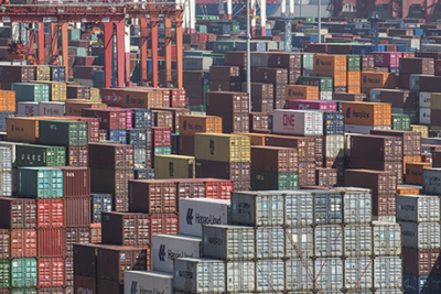 Image of many large shipping containers