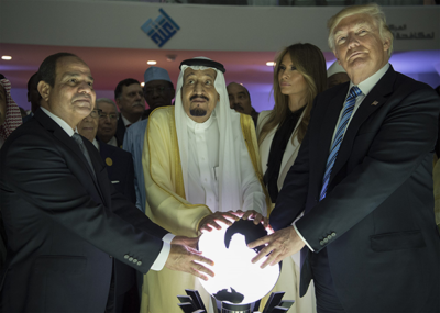 Image President Abdel Fattah el-Sisi of Egypt, King Salman of Saudi Arabia, Melania Trump and President Trump during the opening of an anti-extremist center in Riyadh, Saudi Arabia