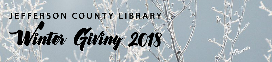 Image of frozen branches on a light gray background with the words Winter Giving.