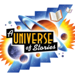 Universe of Stories logo with planets and books