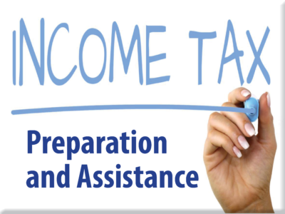 Image of hand holding pen writing the words Income Tax and a link to Preparation and Assistance.
