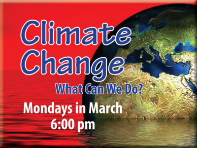 Image of planet Earth in water with red sky and the words Climate Change: What Can We Do?